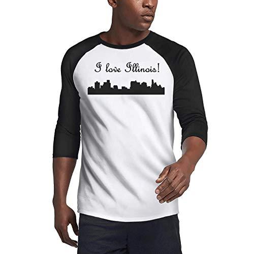 Man Pattern 3/4 Sleeve T-Shirts O-Neck I Love Illinois Cities Black Active Tee Shirts