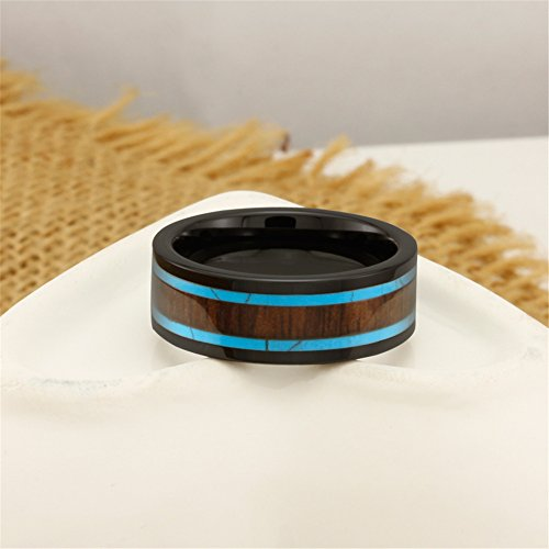 Men Women 8mm Black Ceramic Ring Vintage Wedding Engagement Band with Koa Wood Two Lines Solid Turquoise Size 11 by Fashion Month (Image #3)