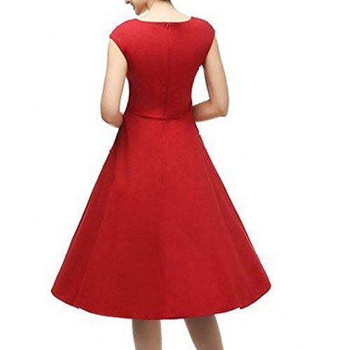 babyonlinedress Mujer Vintage 1950s Hepburn sólido sin mangas Rockabilly Swing vestidos de fiesta M-4x l Rosso