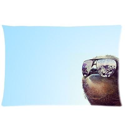 Buythecase Unique Fashion Single-Sided Printing Satin Fabric 20 X 30 Inch Pillowcase Sloth Wearing Sunglasses - Buythecase