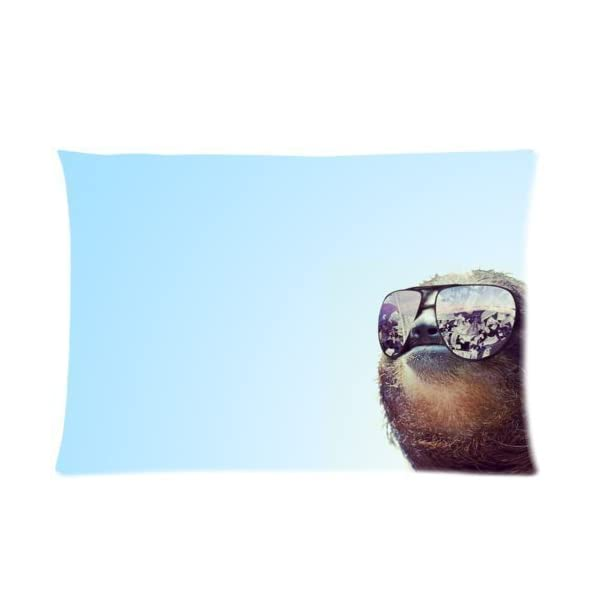 Buythecase Unique Fashion Single-Sided Printing Satin Fabric 20 X 30 Inch Pillowcase Sloth Wearing Sunglasses -