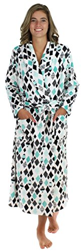 PajamaMania Women's Plush Fleece Long Robe Grey & White Snowflake (PM1400-2011-SML)
