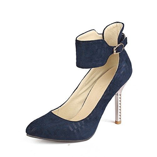 DIMAOL Chaussures pour Femmes en Cuir Nubuck Printemps Automne Comfort à Bride Talons Talon Chaussures Boucle de Mariage & Soirée Noir Rouge,Bleu,US6/EU36/UK4/CN36