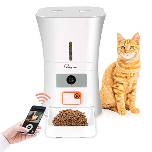 - SKYMEE 8L WiFi Pet Feeder Automatic Food Dispenser for Cats & Dogs - 1080P Full HD Pet Camera Treat Dispenser with Night Vision and 2-Way Audio, Wi-Fi Enabled App for iPhone and Android