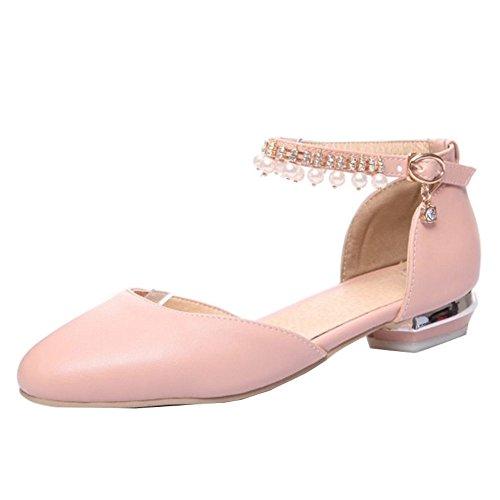 primavera y Flats estilo Bohemia para sandalias cómodas Casual rosa verano con SJJH de 1UqCxnawvx