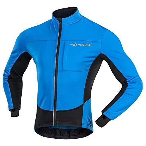 (MUCUBAL Cycling Jacket Men Windproof Softshell Winter Thermal Breathable Bike Jersey Blue)