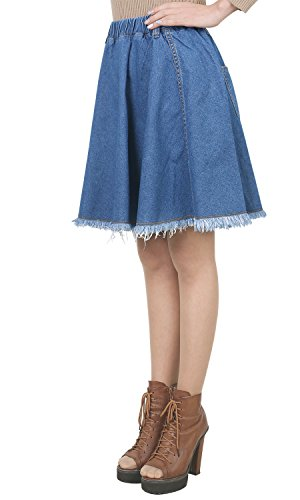 A Middle line Distressed Skirt Cotton Vintage Blue Denim Woman Washed Ililily Flare Fq6OfwBO