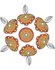 "Floor Rangoli Home decoration for festival Diwali Acrylic Traditional handmade Interior Decoration Wall Decoration sticker Wedding Décor Party Gift gifting Small Rangoli Size: 7"" - Diya shape"