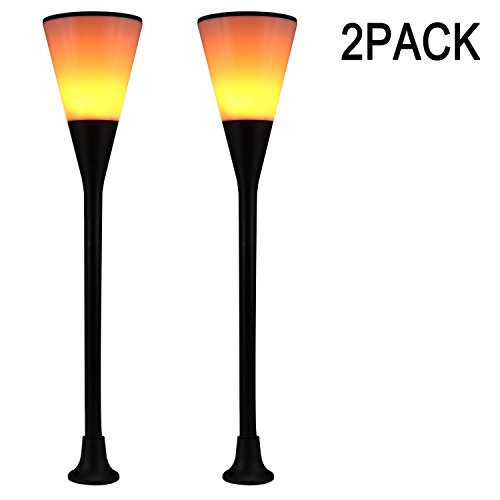 LIGHTESS Solar Torch Lights Waterproof Flickering Flame Solar Torches Dusk to Dawn Outdoor Security Path Light Dancing Flames Landscape Decoration Lighting for Garden Patio Deck Yard Driveway 2 Packs