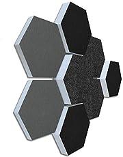 Basotect G+ Geluidsabsorberende 3D-set van 8 elementen, diameter 30 cm, honingraatpatroon, hoogwaardige akoestische elementen, bovenkant, grijs/zwart