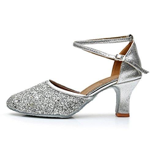 Zapatos de Mujer Baile para Plata Tacón VASHCAMER de pqadtBwqU