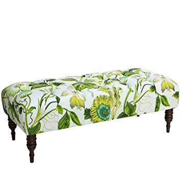 Skyline Furniture Tufted Bench in Grandiflora Jardin
