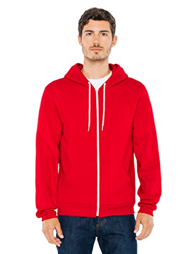 (American Apparel  Unisex Flex Fleece Zip Hoodie, Red, Large)