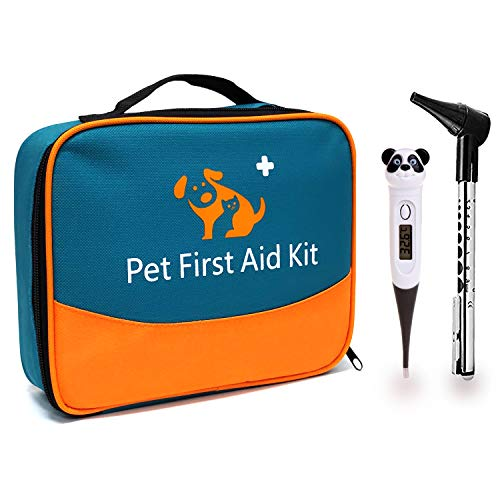 iCare-Pet Pet First Aid Kit with Thermometer and Veterinary Otoscope for Home Care and Outdoor Travel to Care Our Dogs/Cats