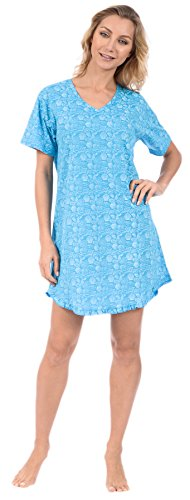 Pink Lady Women's Nightshirt Short Sleeve Loungewear PJ (Blue Sea Shells Medium)