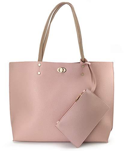 Women's Tote Color-Block Pebbled Faux Leather Shoulder Handbag With Zipper Pocuh Wristlet (Pink)