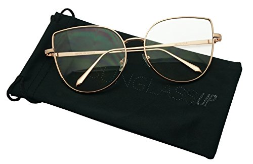 Women's Sexy Extra High Pointed Cat Eye Flat Clear Lens Glasses Round (Rose Gold, - Eye Large Glasses Prescription Cat