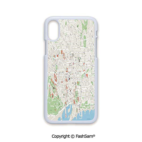 Plastic Rigid Mobile Phone case Compatible with iPhone X Black Edge Map of Barcelona City Streets Parks Subdistricts Points of Interests Decorative 2D Print Hard Plastic Phone Case