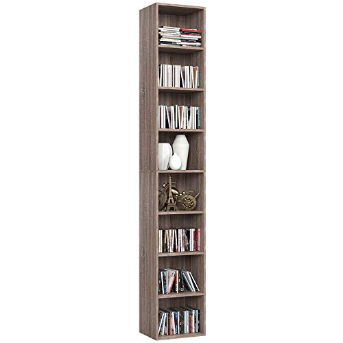 - Homfa CD DVD Storage Tower Rack, 8-Tier Wooden Media Storage Organizer Cabinet Unit, 71 Inches Height Bookshelf Display Bookcase with Adjustable Shelves for CDs, Books, Video Games, Arts, Oak