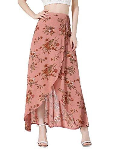 Bigood Imprim Fleur Casual Jupe Asymtrique Fente au Lacet pour Femme Rouge
