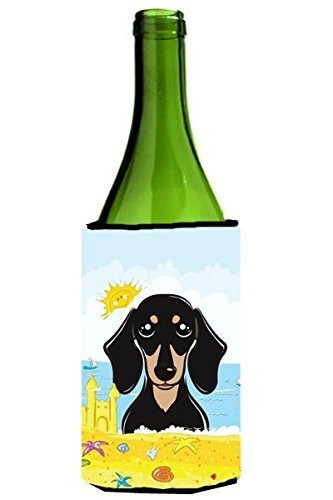 "UPC 638508209306, Caroline's Treasures BB2083LITERK ""Smooth Black and Tan Dachshund Summer Beach"" Wine Bottle Hugger Koozie, 750ml, Multicolor"