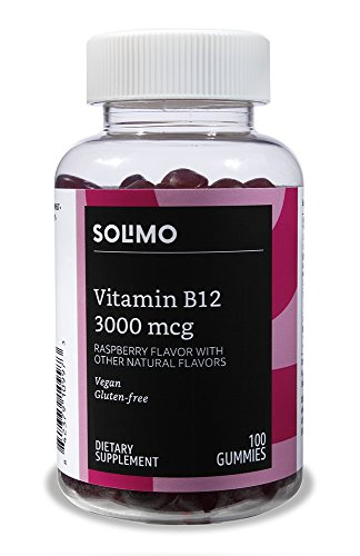 Amazon Brand - Solimo Vitamin B12 3000 mcg, 100 Gummies (2 Gummies per Serving)