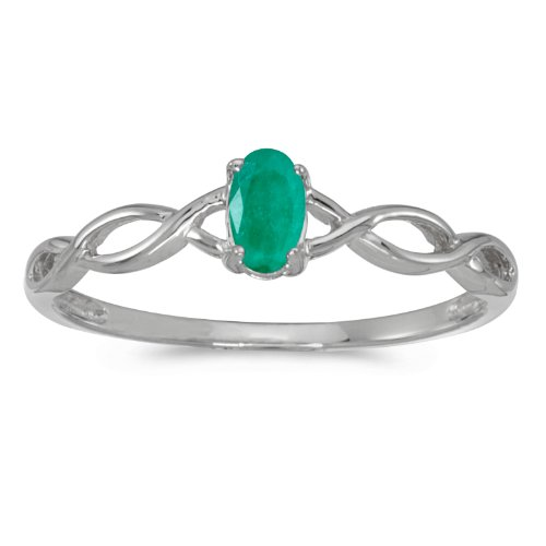 Jewels By Lux 10k White Gold Genuine Green Birthstone Solitaire Oval Emerald Wedding Engagement Ring - Size 5.5 (1/6 Cttw.) ()