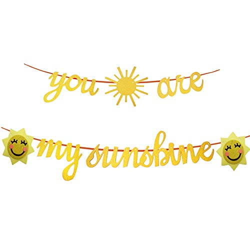 SAKOLLA You Are My Sunshine Banner - Gold Glitter Sun and Smile Face Sunflower for Wedding Baby Shower Kids Birthday Party Nursery Decoration Supplies