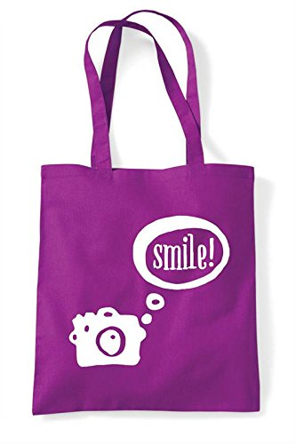 Tote Camera Shopper Bag Smile Speech Magenta Bubble twwqvTP