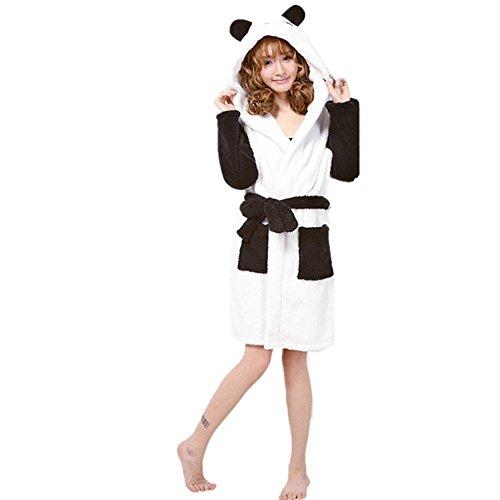 Donna cintura e Animale Vestaglia Toga Condimento Bagno Indumenti Cosplay Termale Notte da Accappatoio Panda Con Accappatoio Cappuccino Costume Vello Z1ran8qxZ