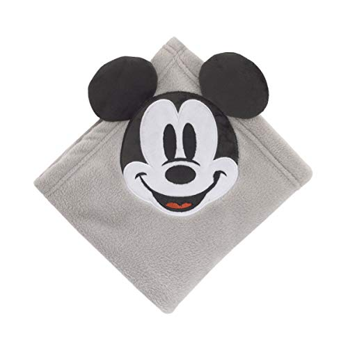(Disney Mickey Mouse Super Soft Corner Applique Baby Blanket with 3D Ears, Grey/Black/White)