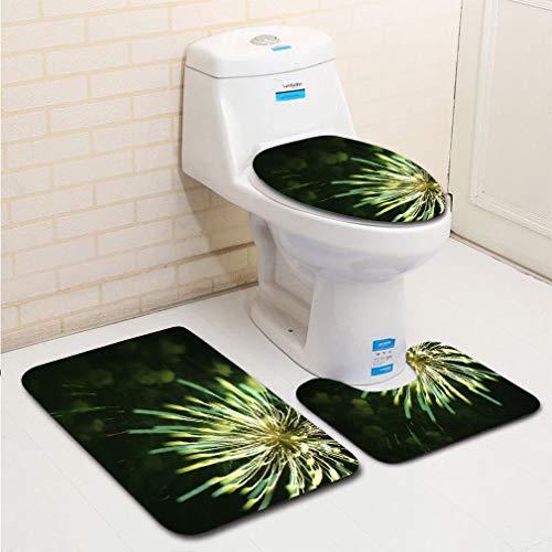 MTSJTliangwan 3-Piece Bathroom Set, Bathroom Rug + Contour pad + lid Toilet seat, Focus Shift Fireworks Delco Park Kettering Dayton Ohio USA Comfortable Flannel ()