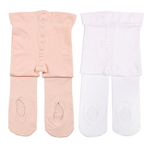 Girl's Ballet Dance Tights - Ultra-Soft Toddler Ballet Tights for Women (XS, 2 Pairs Ballet Pink & White)