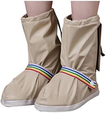 XHYRB 防水靴カバー、靴カバー、肥厚ボトム、完全防水、男性と女性のファッションノンスリップレインブーツ、レッドSコード 防水靴、防雨カバー、長靴 (Color : Beige, Size : XXL)
