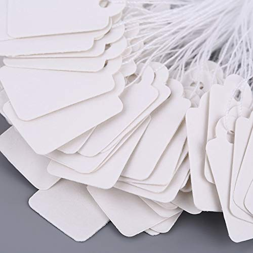 ghfcffdghrdshdfh Rectangular Blank White 925 Silver Price Tag 100 Pcs With String Jewelry Label