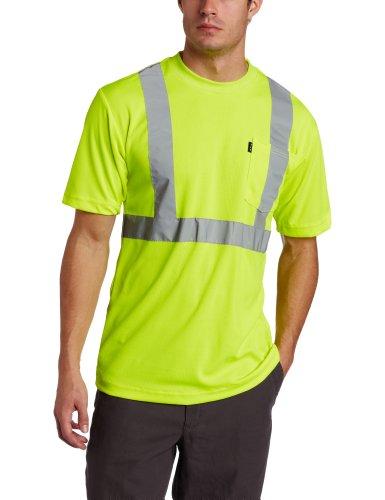Mens Hi Visibility - Key Apparel ANSI II Class 3 Hi-Visibility Pocket T-Shirt X-Large Hi-Vis Yellow