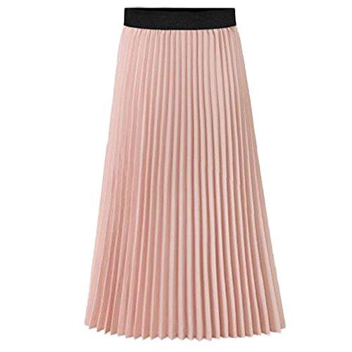 Howriis Women's Summer Chiffon Pleated A-line Midi Skirt Dress (Medium, A Pink) - Long Skirt Pleats Skirt