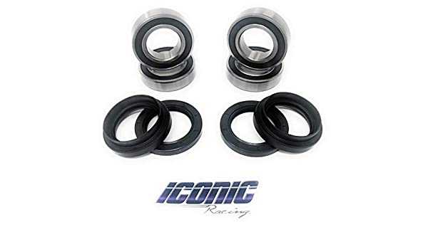 Iconic Racing Both Front Wheel Bearing and Seal Kits Compatible With Suzuki King Quad 300 400 4x4 LTF400F LTA400F LTF4WDX LTF300F 1991-2015
