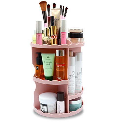 Makeup Organizer 360 Degree Rotating Adjustable Multi-Function Cosmetic Storage,a Large Capacity and Compact Display Box Pink
