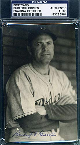 BURLEIGH GRIMES PSA DNA Autograph Photo Postcard Authentic Signed from KHW HALL OF FAME GALLERY