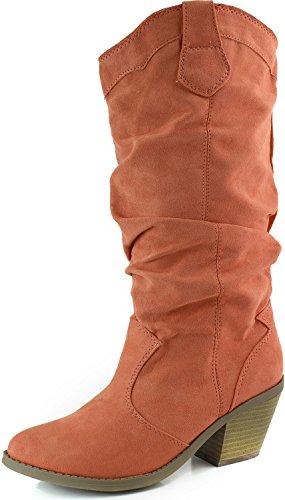 Qupid Muse-01Xx Coral Faux Suede Women Cowboy Boots, 6 M US