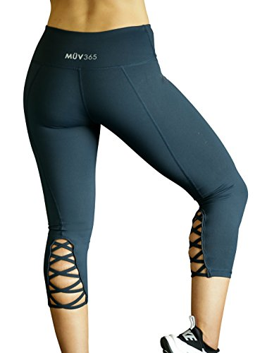 Mܖ365 Ultimate Yoga Pants for Women Crisscross Strappy Workout Leggings with Hidden Pocket,Navy, Back Cutout, Large