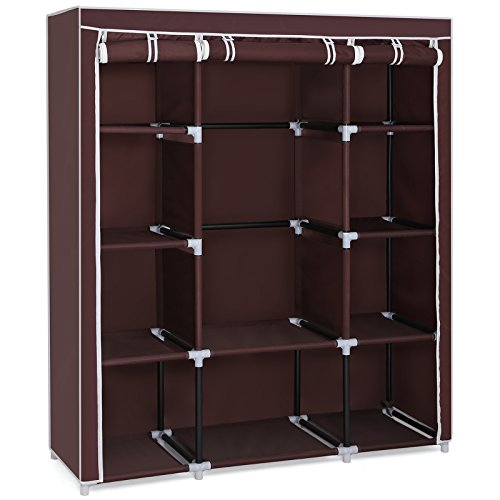 SONGMICS Wardrobe 420D Oxford Fabric Portable Closet Durable Storage Organizer with Double Rods 50