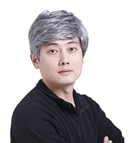 [Synthetic Short Silver Old Men's Hair Wigs For Father] (Old Wigs)