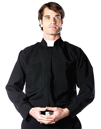 Priest Costume White (Underwraps Costumes Men's Priest Costume - Long Sleeve Shirt, Black/White, X-Large)