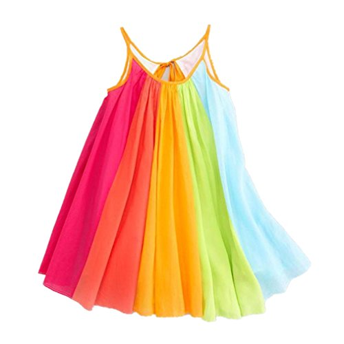Lurryly Toddler Kids Baby Girl Princess Clothes Sleeveless Chiffon Tutu Rainbow Dresses (Size:5/6T,Label Size:120, Multicolor) ()