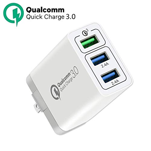 Quick Charge 3.0 USB Fast Wall Charger, 30W 3 Ports USB Travel Quick Charger Adapter QC 3.0 Fast Charging Block Plug Compatible for iPhone, Samsung S9/S9+/S8/S7/S6/Edge/Note LG HTC (White)