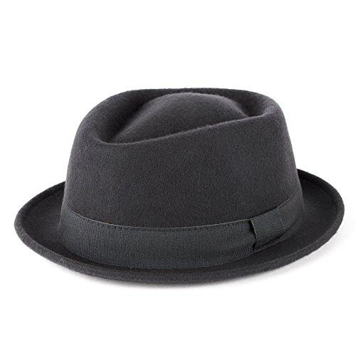 Men's Ladies Trilby Hat Plain Hand Made Fine Felt Grosgrain Bow Style Band - Grey (57/M)