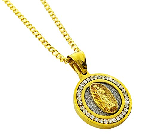 - Diamond Framed Mini Medallion Virgin Mary Pendant Gold Stainless Steel Necklace with 24