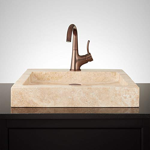 """Signature Hardware 231915 20"""" Square Polished Travertine Vessel Sink with Single Faucet Hole"""
